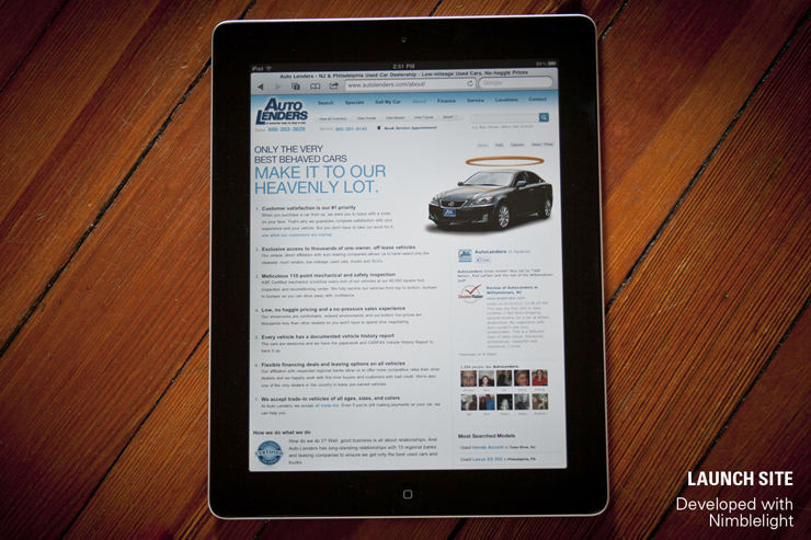 Auto Lenders Website, Developed with Nimblelight
