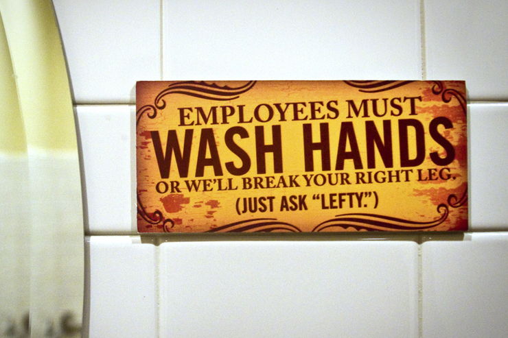Tony Roni's Bathroom Sign