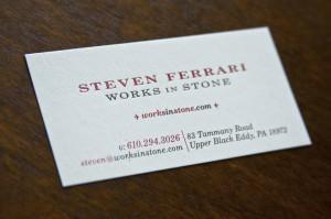 Steven Ferrari Works in Stone Business Card